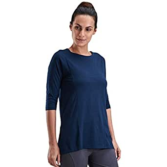 Proyog Blue Cotton Round Neck Henley Top For Women