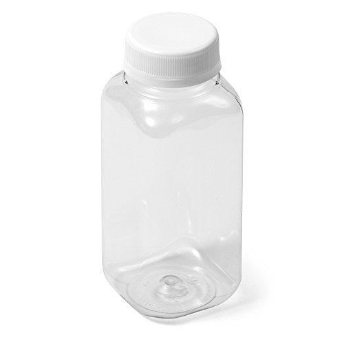 (300) Clear Square IPEC PET Bottle - 8 fl oz - White IPEC Cap - Case of -