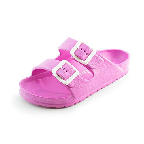 Small Double Link - Link Unisex Double Buckle Comfort EVA Flat Slip On Slide Sandals (Fuchsia, 2)