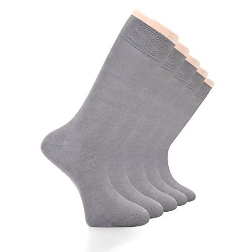 LAETAN Mens Socks, European Bamboo Dress Socks, (Grey 5 - Support Dress Sock Mens