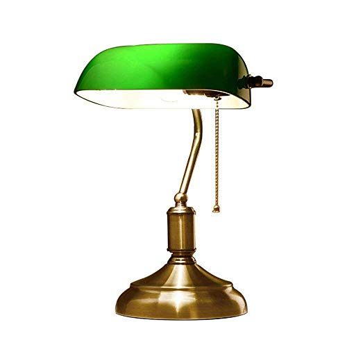 NBZH Lampara de Mesa, Vintage Escritorio Lampara de Lectura banqueros lampara con Interruptor de Tirar Verde Pantalla de Vidrio Lampara de Noche E27 Sala de Estar Oficina Estudio Comedor