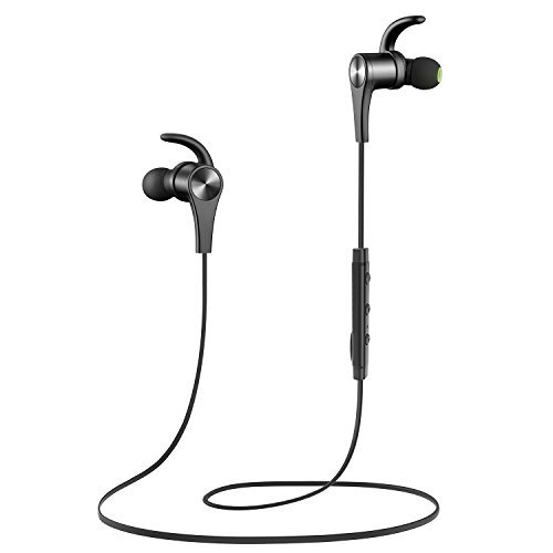SoundPEATS Bluetooth Headphones In Ear Wireless Earbuds 4.1 Magnetic Sweatproof Stereo Bluetooth Earphones for Sports With Mic (Upgraded 8 Hours Play Time, Secure Fit, Noise Cancelling) -Black (Bluetooth Headset Power Tip)