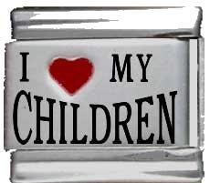 Kids Red Italian Charm (I Heart My Children Red Heart Laser Italian)
