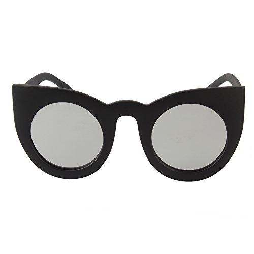 Zeraca Women's Fashion Round UV Protection Cat Eye Sunglasses Black - 2015 Trending Sunglasses