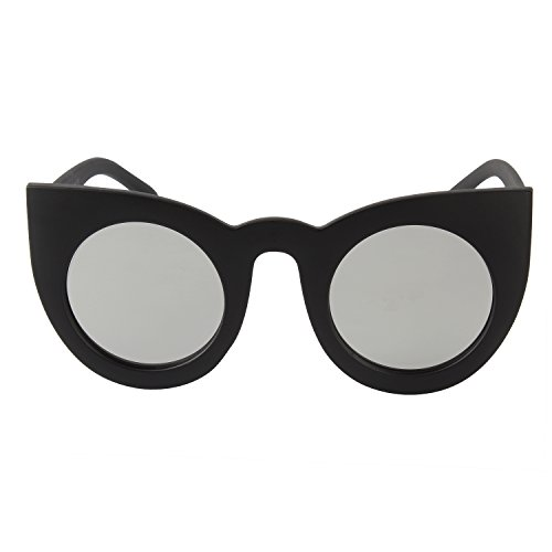 Zeraca Women's Fashion Round UV Protection Cat Eye Sunglasses Black - Designer Sunglasses Promotional Fishing