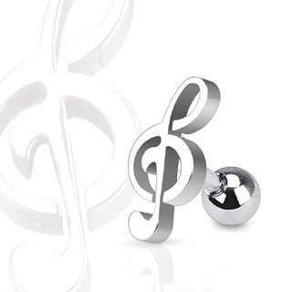 Treble Clef Music Note Tragus/Cartilage Piercing Stud 16g (Music Note Cartilage)