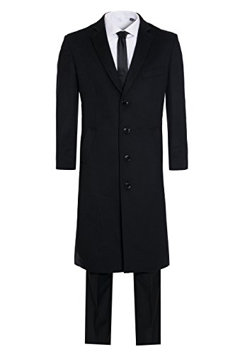 Men's Premium 100% Wool and Cashmere Long Jacket Wool and Cashmere Top Coat Outerwear (44 Long, Black Wool Jacket) ()
