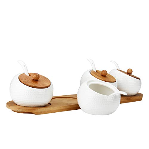 RUCKAE Ceramic Condiment Jar Spice Container with Bamboo Lid,Porcelain Spoon,Wooden Tray,Set of 4,White,170ML(5.8 OZ),Perfect Spice Storage for Home,Kitchen,Counter