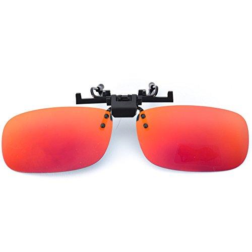 WearMe Pro - Polarized Lighweight Clip on Sunglasses Mirrored Red