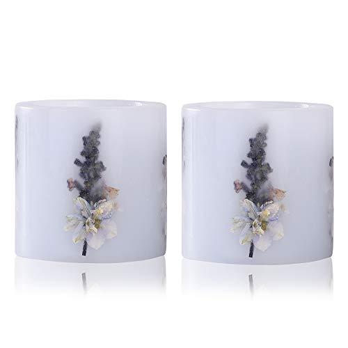 YAMUDA 2 Pcs Dried Flower 3 X 3 inch Pillar Light Blue Smokeless and Odorless Candle Home Furnishing Decoration