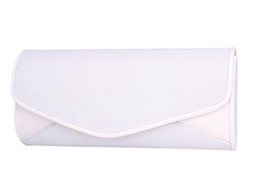 Day Of Saturn Bolso Clutch Con Solapa De Estilo Sencillo Para Mujer Fiesta Boda,Plateado Blanco