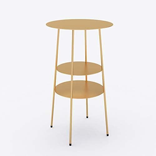 GWDJ サイドテーブル、金属製リビングルームのソファーサイドコーヒーテーブル、金属製の3層スモールラウンドテーブル、アイアンアートベッドサイドキャビネット、バルコニーの棚、フラワースタンド、ゴールド、ブラック コーナーテーブル (色 : ゴールド)