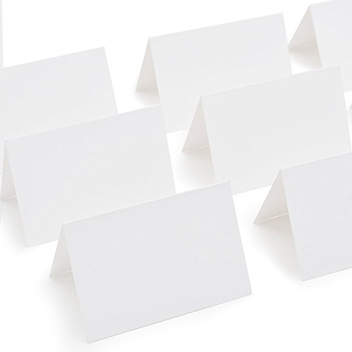 (AZAZA 50 Pcs White Blank Place Cards - Textured Table Tent Cards Seating Place Cards for Weddings Banquets Dinner Parties 2.5