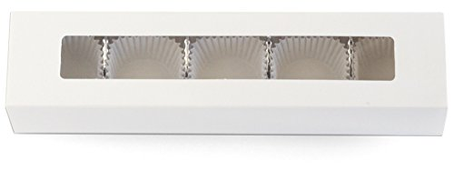 Chocolate Truffle Gift Boxes Deluxe Kit, 5-Piece Window Slider, Box, Candy Tray, BONUS Glassine Candy Papers (White)