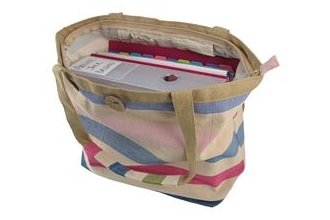 Borsa blu e rosa a strisce in cotone con tracolla by Bill Brown