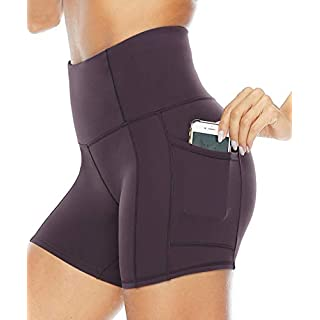 Persit Yoga Shorts for Women with Pockets High Wasited Running Athletic Biker Workout Shorts Tight Fitness Gym Shorts Yoga Pants - Vintage Grape - M
