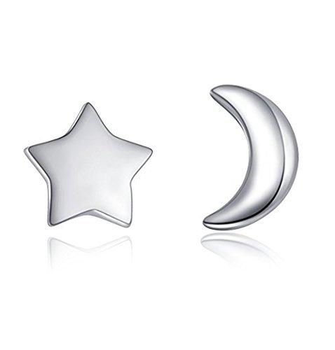 (Aftermarket Moon and Star 925 Sterling Silver Stud Earring Asymmetric Sleep Earrings)