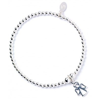 Sterling Silver 'Rice & Noodle' Ball Bead Bracelet with Bumble Bee Charm Mcp6Pk