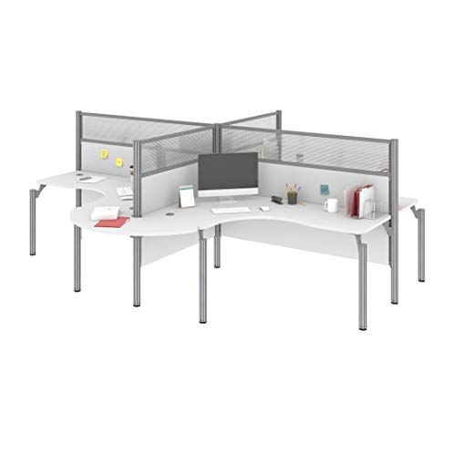 Bestar Four L-Desk Workstation with Rounded Corners - Pro-Biz