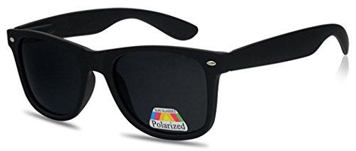SunglassUP 80's Classic POLARIZED Sunglasses Retro Casual Unisex Shades (Matte - Black Raybands