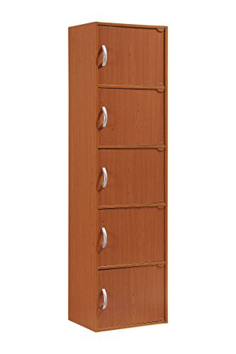 Hodedah 5 Door Five Shleves Enclosed Storage Cabinet Cherry [並行輸入品] B07B77NQ58
