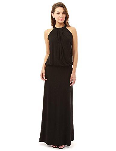 - PattyBoutik Women Halter Pleated Twist Blouson Maxi Dress (Black Small)