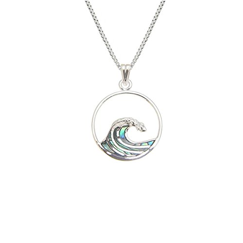 Sterling Silver Pendant Wave - Large Sterling Silver 925 Genuine Abalone Shell Wave Pendant Necklace