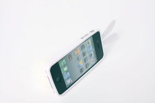 COVER CASE CUSTODIA iPhone 4 4S ROSA BIANCO RABITO ORECCHIE