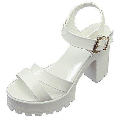 LvYuan Mujer Sandalias Confort PU Verano Confort Tacón Robusto Blanco Negro 12 cms y Más White