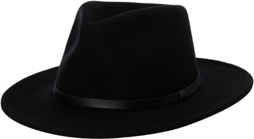 Henschel Men's Felt Outback Hat with Leather Band, Black, Medium (Band Wool)