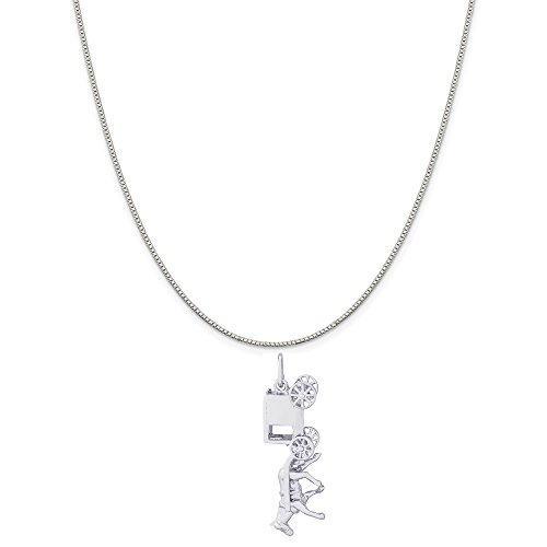 - Rembrandt Charms 14K White Gold Amish Wagon Charm on a 14K White Gold Box Chain Necklace, 18