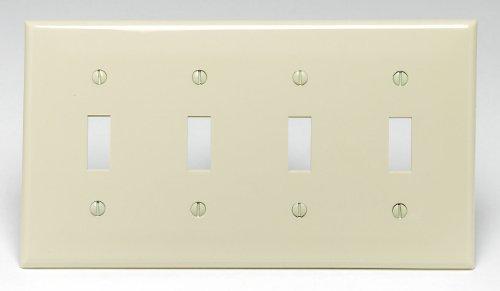 Leviton 80712-I 4-Gang Toggle Device Switch Wallplate, Standard Size, Thermoplastic Nylon, Ivory (Toggle Plate Ivory)