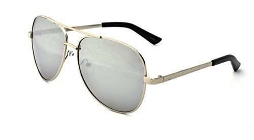 Dickies Men's Aviator Sunglasses, Silver Shiny Frame, Smoke Silver Mirror Lens, - Sunglasses Dickie