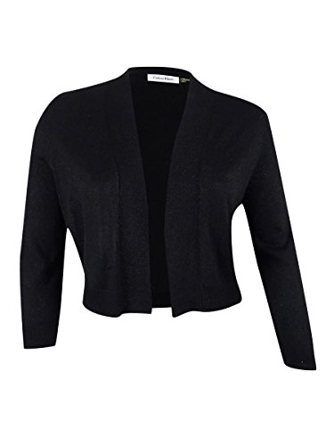 Calvin Shimmer Klein (Calvin Klein Womens Large 3/4-Sleeve Open Front Shimmer Cardigan Sweater Black L)