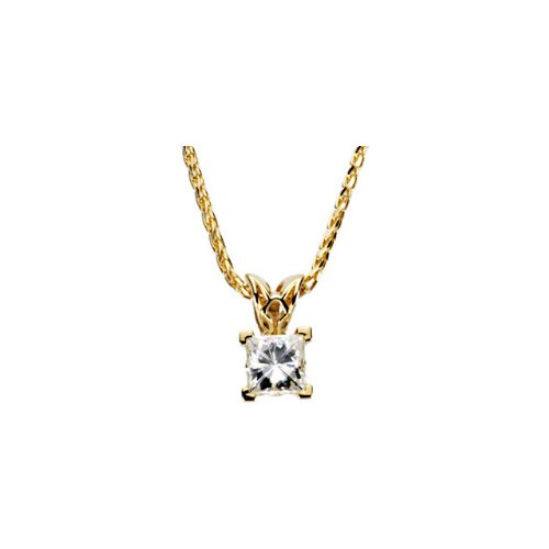CleverEve Luxury Series 14K Yellow Gold 3.70 grams 6.50 mm 1 1/2 Ct Created Moissanite Solitaire Square Scroll Setting Pendant Necklace