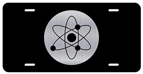 JMM Industries Atomic Symbol Vanity Novelty License Plate Tag Metal Car Truck 6-Inches by 12-Inches Etched Metal UV Resistant ELP110
