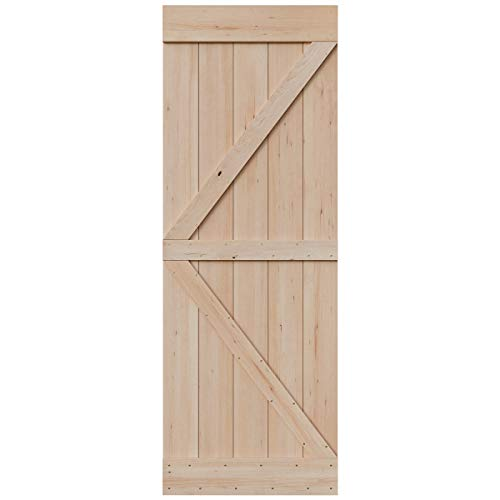 SmartStandard 30in x 84in Sliding Barn Wood Door Pre-Drilled Ready to Assemble, DIY Unfinished Solid Hemlock Wood Panelled Slab, Interior Single Door, Natural, Frameless K-Shape (Fit 5FT Rail)