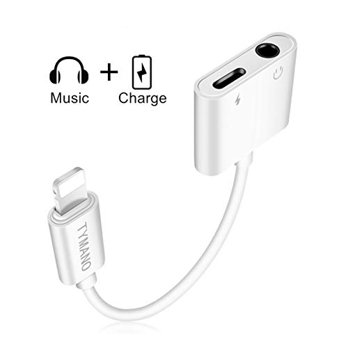 TYMANO 3.5mm Headphone Adapter, Audio Jack Cable and Charge Splitter Compatible with Phone X/8/8 Plus/7/7 Plus