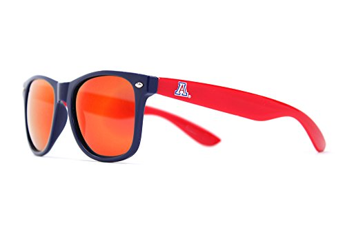 NCAA Arizona Wildcats AZ-4 Blue Front Temple, Red Lenses Sunglasses, One Size, Blue