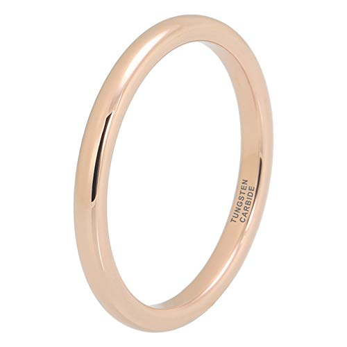 iTungsten 2mm Rose Gold Tungsten Rings for Men Women Wedding Bands Domed Polished Shiny Comfort Fit