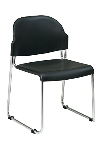 Back Chairs Stacking Steel (Office Star Plastic Seat and Back Stacking Chairs with Chrome Finish Steel Frame, 4-Pack, Black)