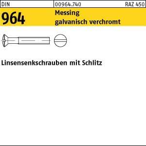 200 Schlitz Linsensenkschrauben DIN 964 Messing verchromt M5x25