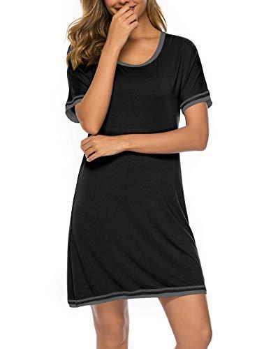(Twinklady Sleepwear Women Nightgown Cotton Sleepshirts V Neck Nightdress Short Sleeve Nightshirts B XL Black)