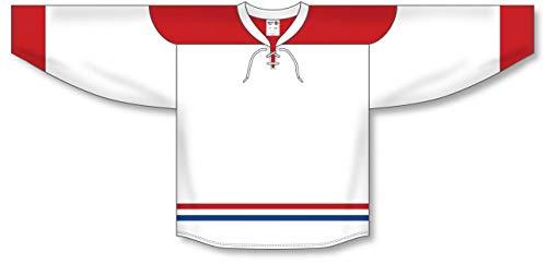 (2015 Montreal White Lace Neck with Underlay Pro Plain Blank Hockey Jerseys)