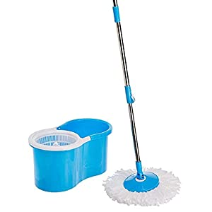 Spartan 360 Degree Spin Plastic Mop with Auto Fold Handle for Cleaning and Household Purposes (Color Assorted)