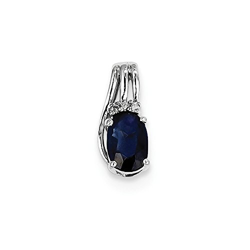 Sterling Silver Diamond & Simulated Sapphire Oval Pendant (6mm x 13mm)