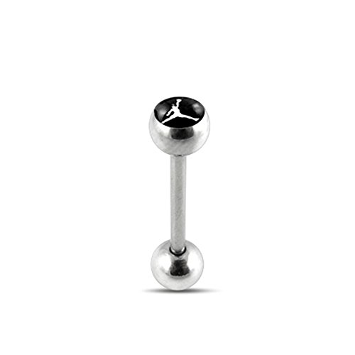 Black BASKETBALL PLAYER Logo Tongue Ring. 14Gx5/8(1.6x16mm) 316L Surgical Steel Barbell with 6/6mm Ball Tongue Piericng jewelry. Price per 1 Piece only.