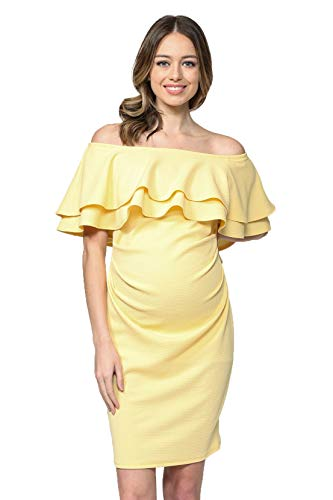 LaClef Women's Off Shoulder Maternity Dress with Double Ruffle (Yellow, L) -