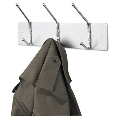 Safco Products - Safco - Wall Rack, Three Ball-Tipped Double-Hooks, Metal, Satin Aluminum - Sold As 1 Each - Ball tips prevent damage to garments. - Mounting hardware included. -
