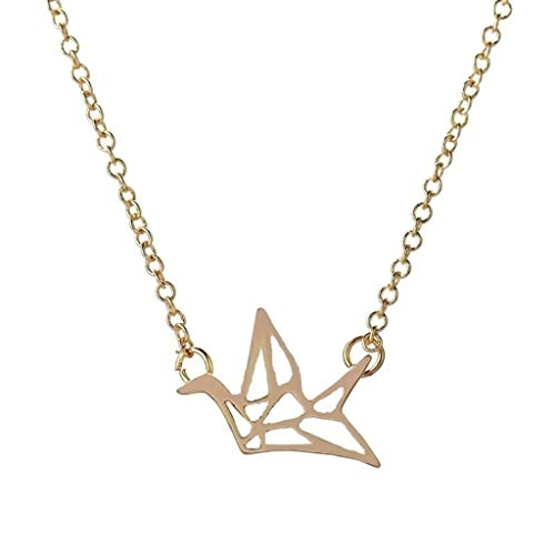 ZHX New Item Gold Origami Crane Necklace & Pendant Origami Bird Necklace Cute Dove Necklace XL006 Gold one Size
